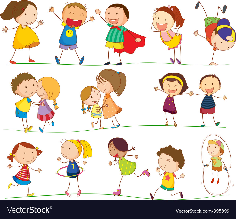Cute family and kids vector