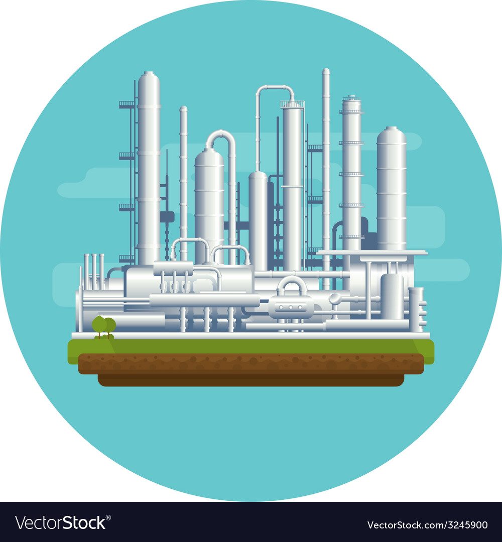 Oil production plant vector