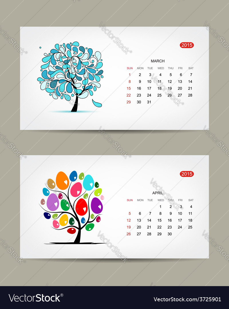 Calendar 2015 march and april months art vector