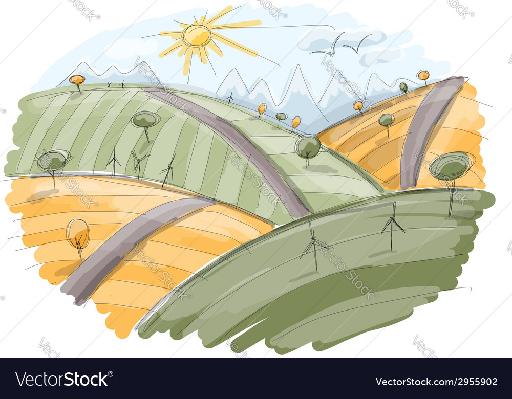 Autumn field sketch for your design vector