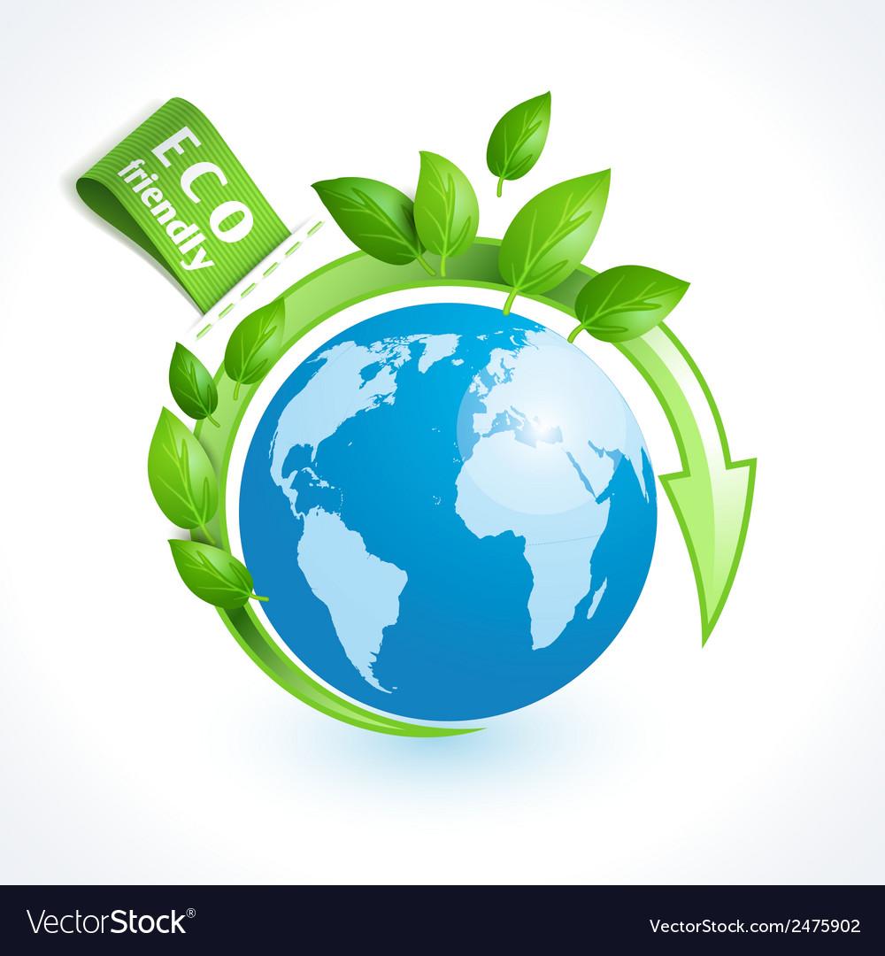 Ecology symbol globe vector