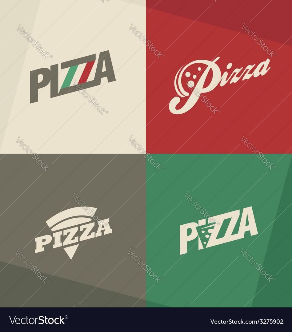 Pizza icons labels logos symbols vector
