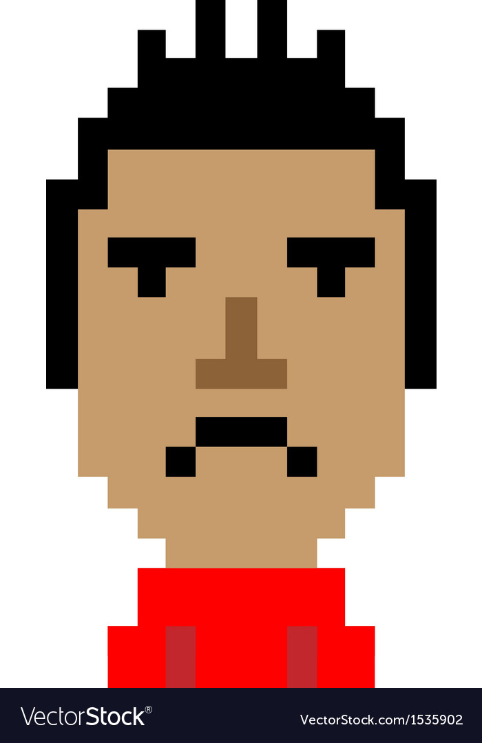 Red shirt man bored emoticon pixel art character vector