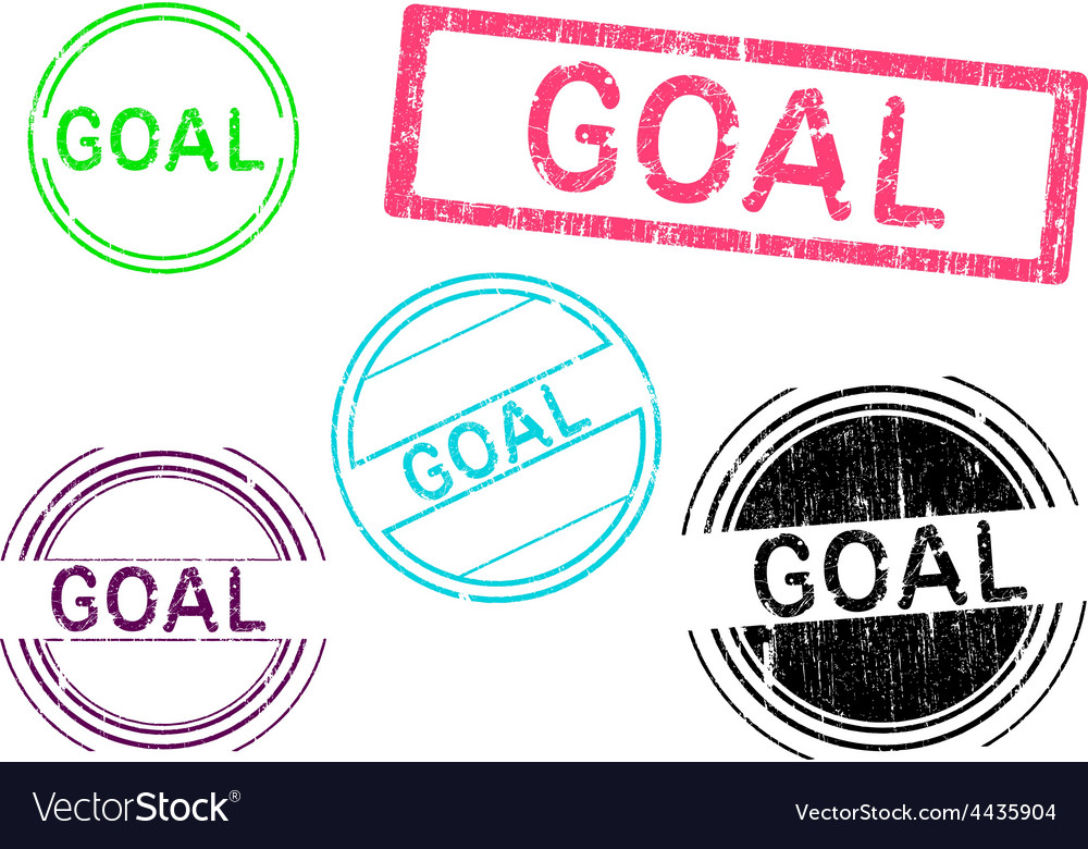 5 grunge stamps goal vector