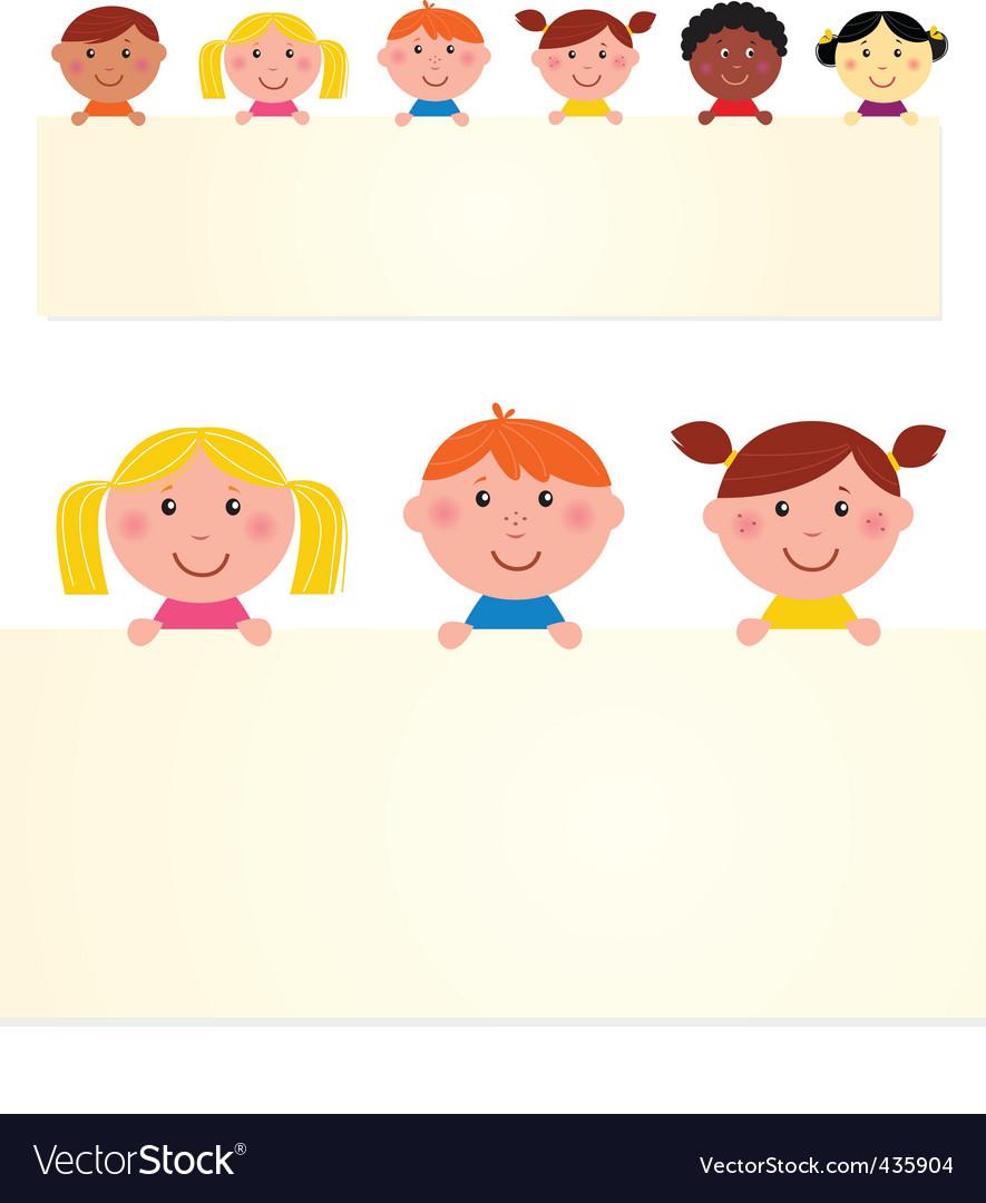 Multicultural kids banner vector