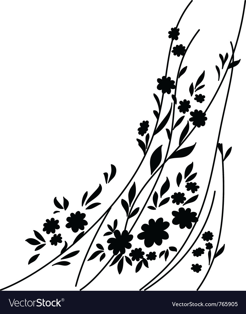Flowers and leaves vector