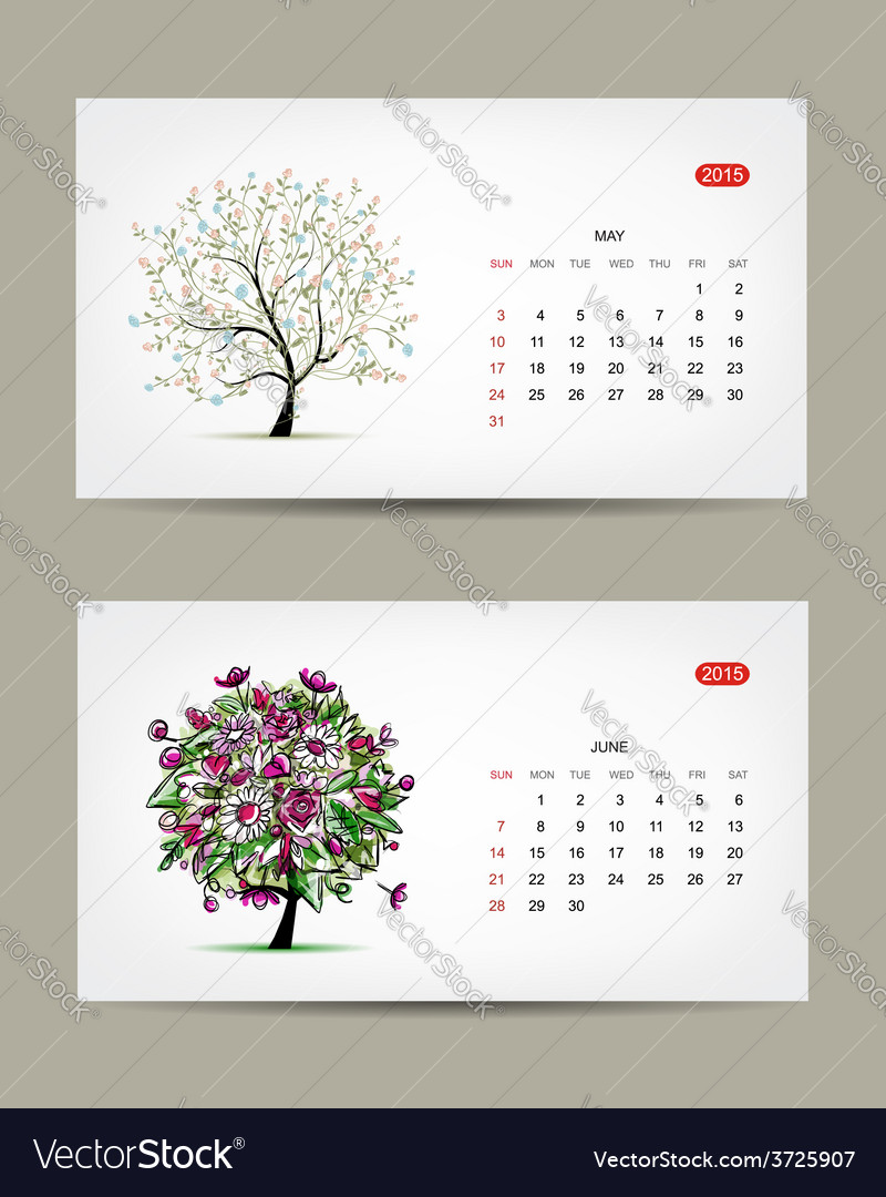 Calendar 2015 may and june months art vector