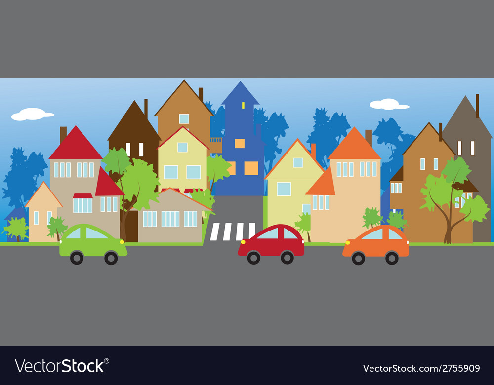 The street of a small town vector