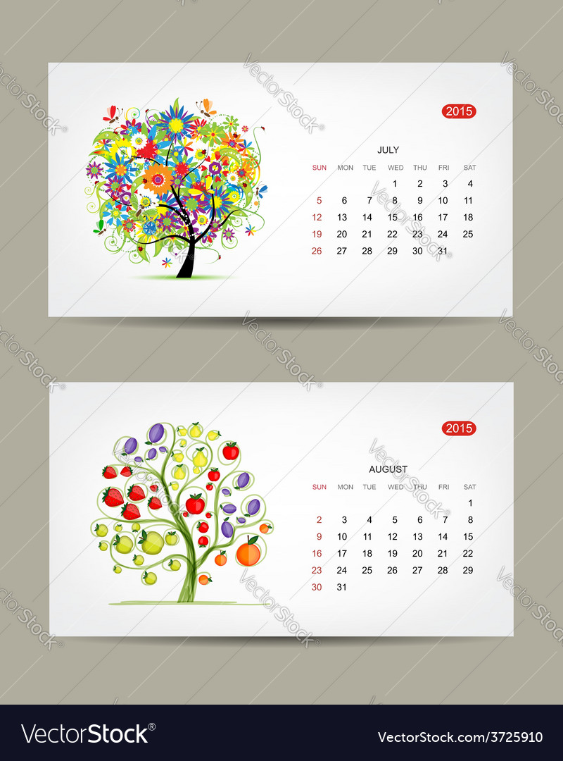 Calendar 2015 july and august months art tree vector