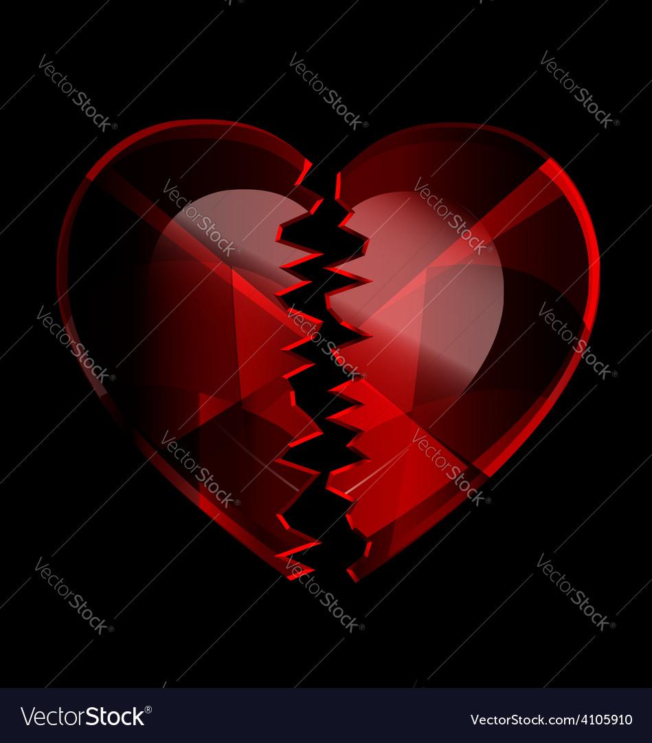 Cracked heart-crystal vector