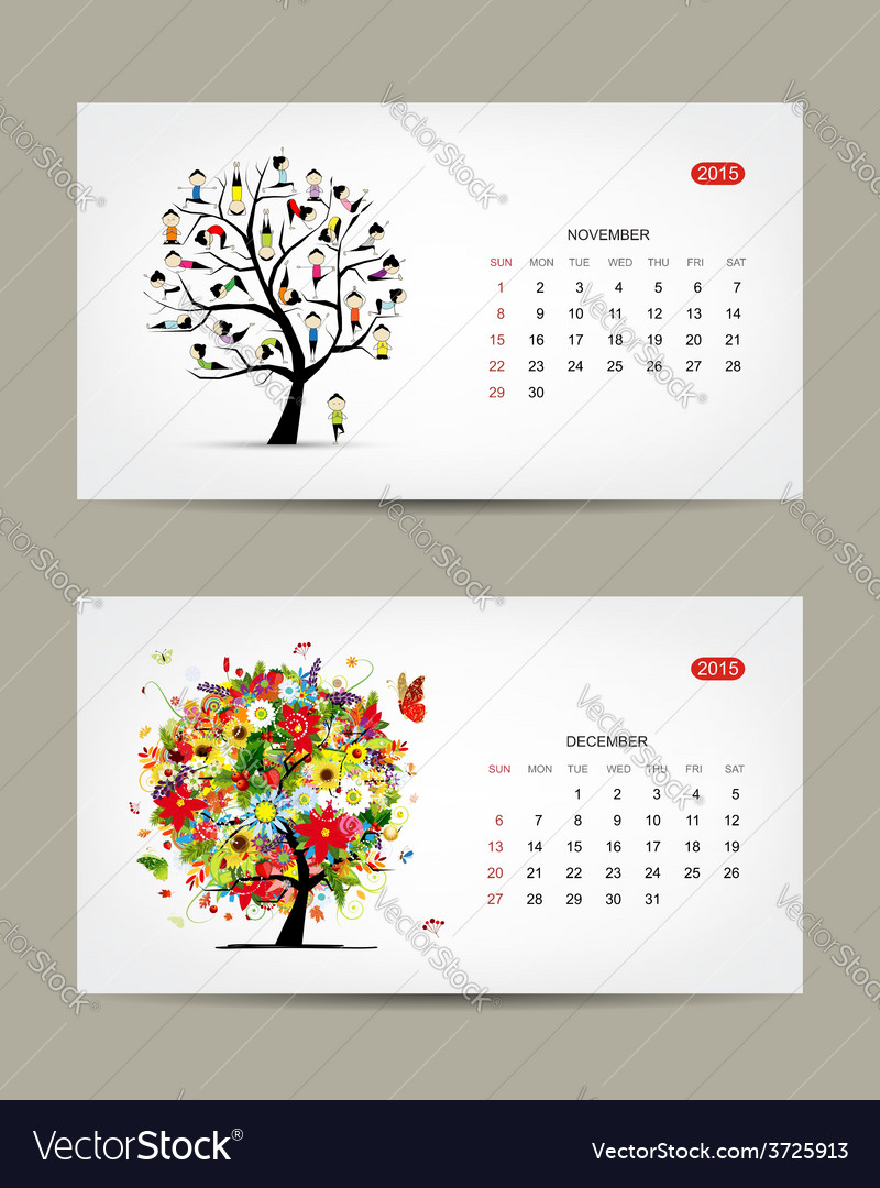 Calendar 2015 november and december months art vector