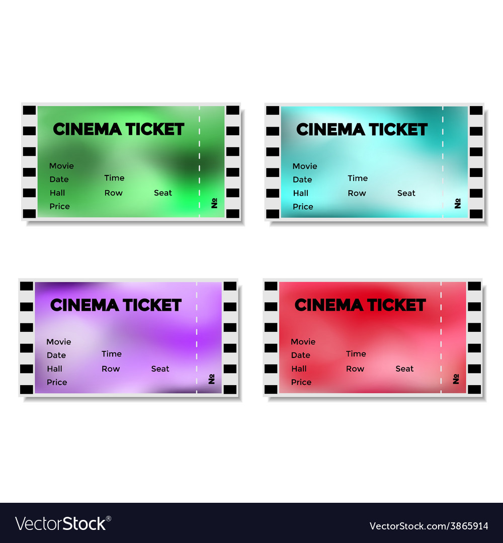 Set of colored blurry cinema ticket vector