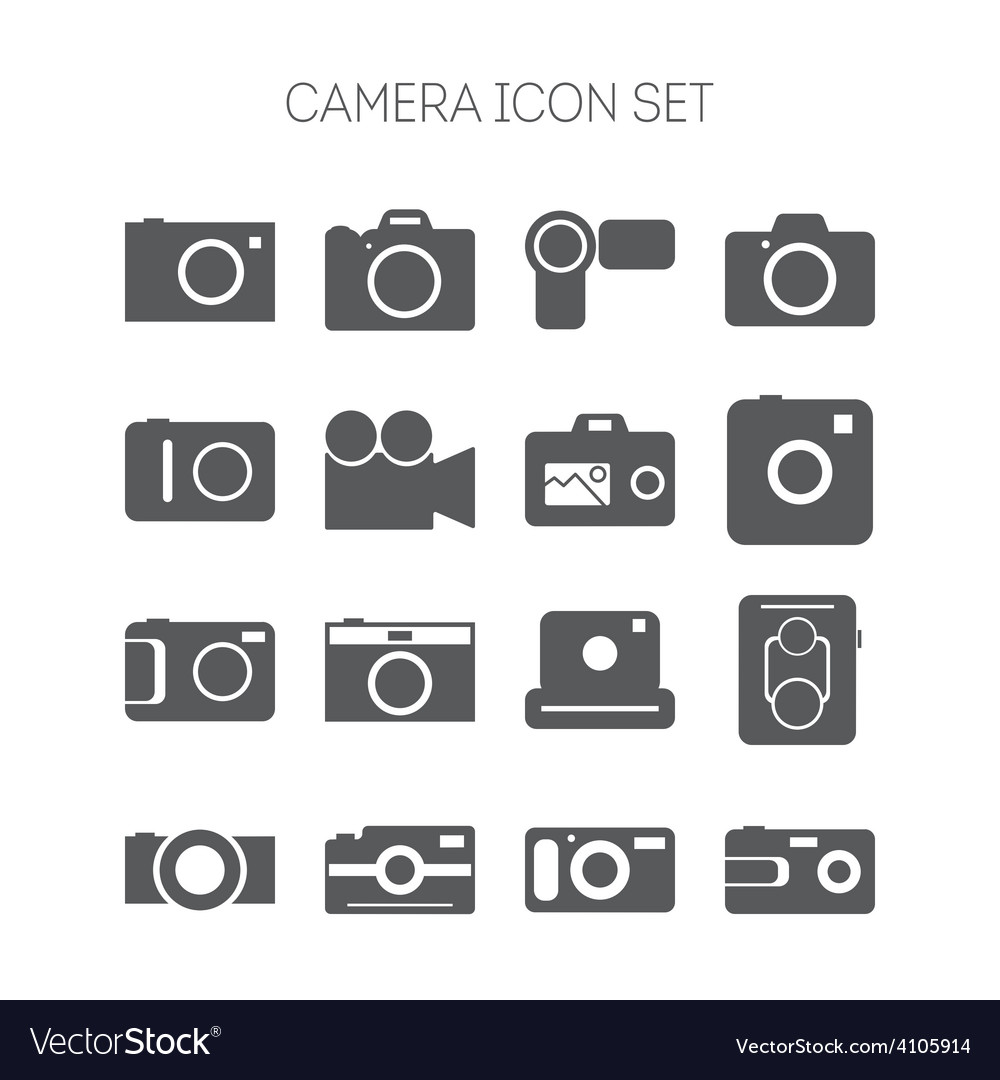 Set of simple icons with cameras for web design vector