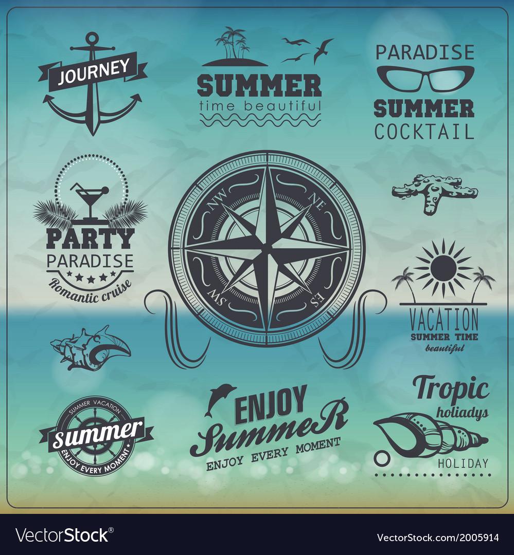 Set of vintage summer typography design with label vector