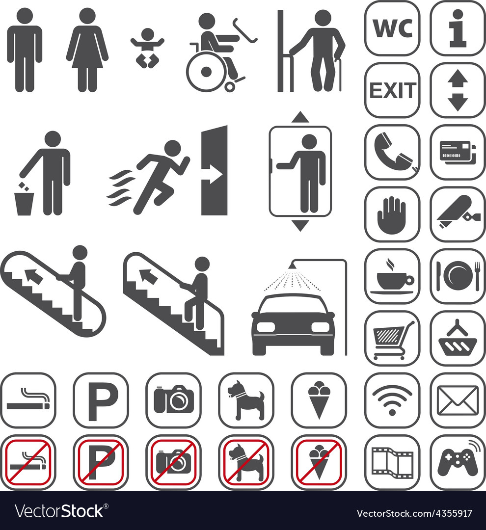 Airport shopping mall icons set vector