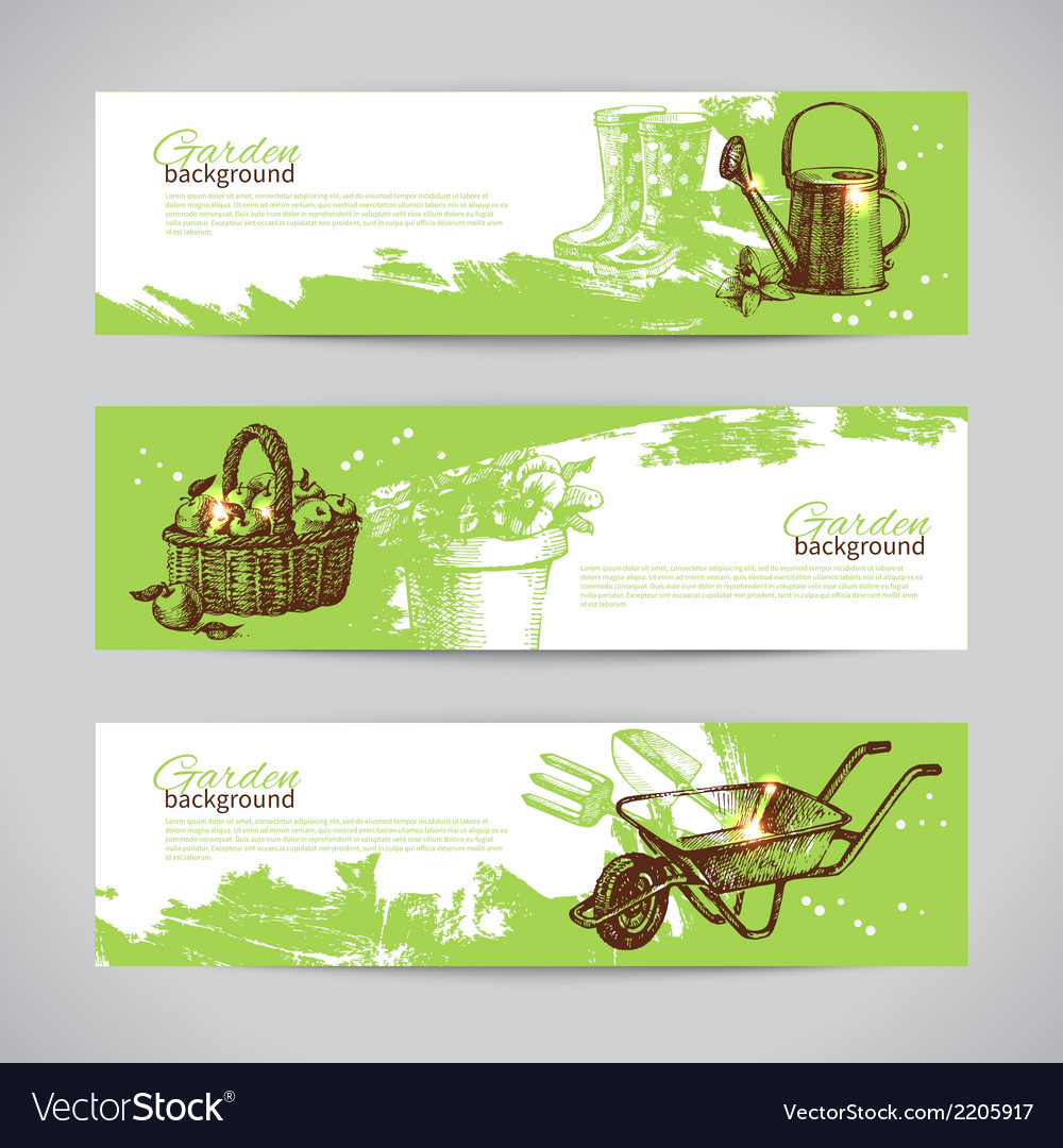 Set of sketch gardening banner templates vector