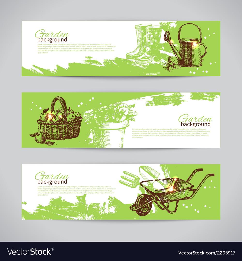 Set of sketch gardening banner templates vector
