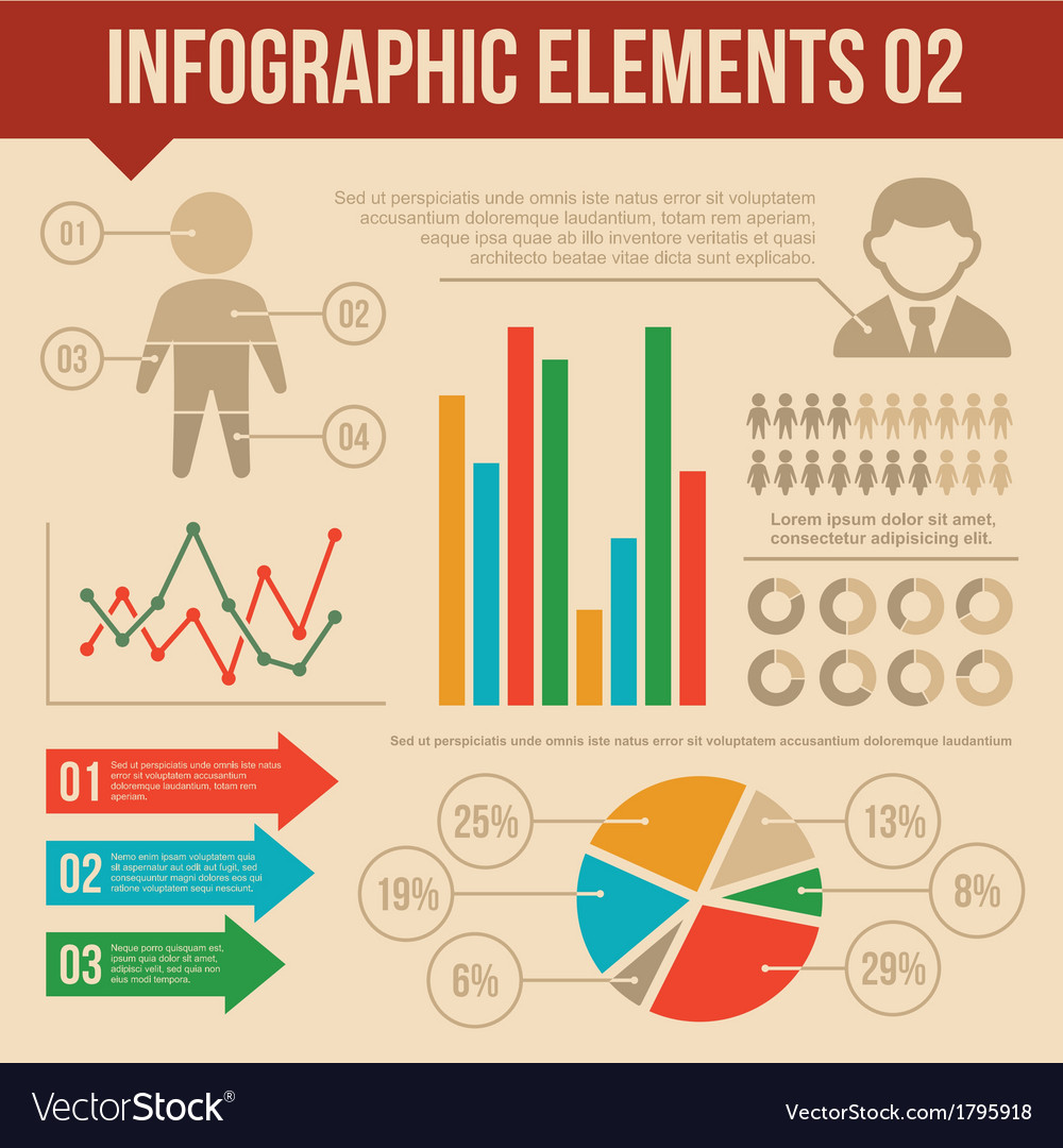 Retro infographics elements set 2 information and vector
