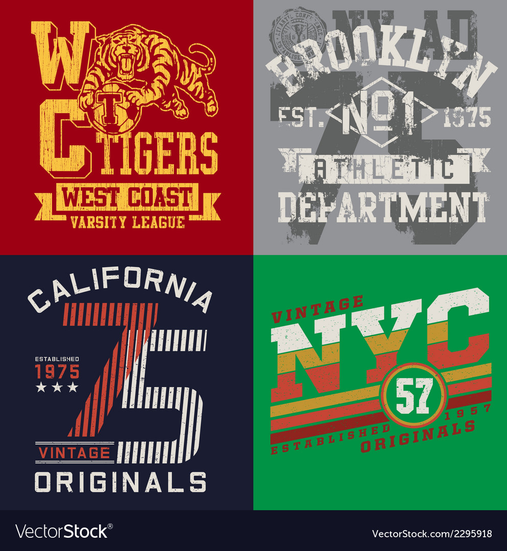 Vintage t-shirt graphic set vector