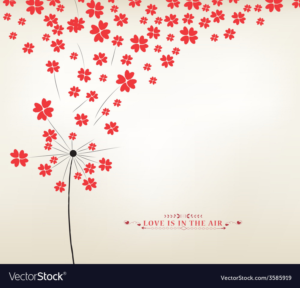 Dandelion hearts greeting card vector