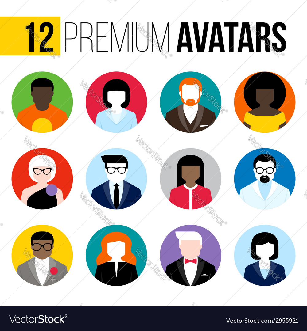 Colorful male and female user icons avatars vector