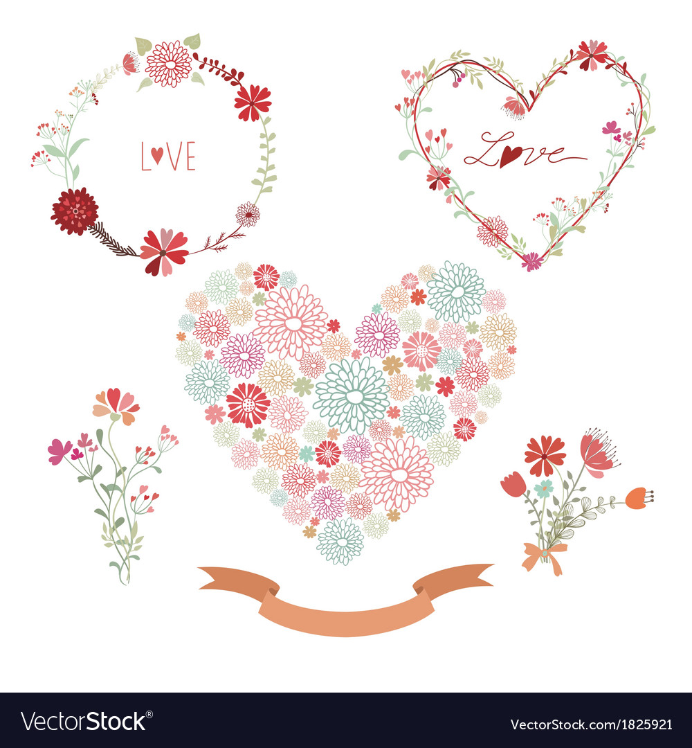 Floral frames and heart with flowers vector