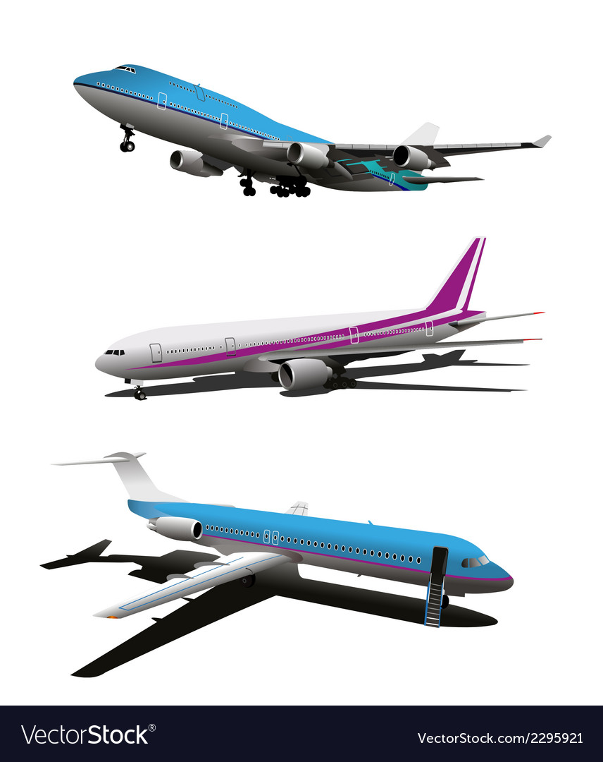 Set of art commercial plane vector