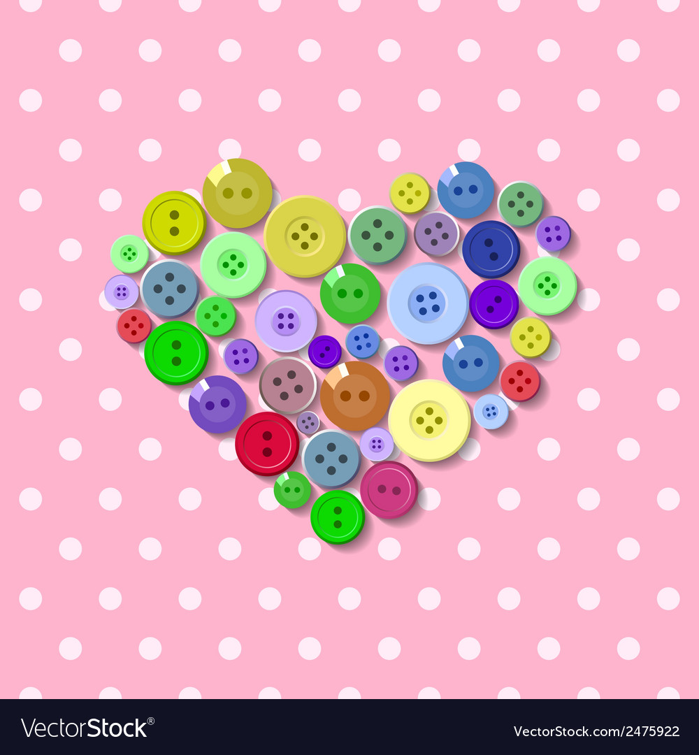 Buttons heart valentine vector