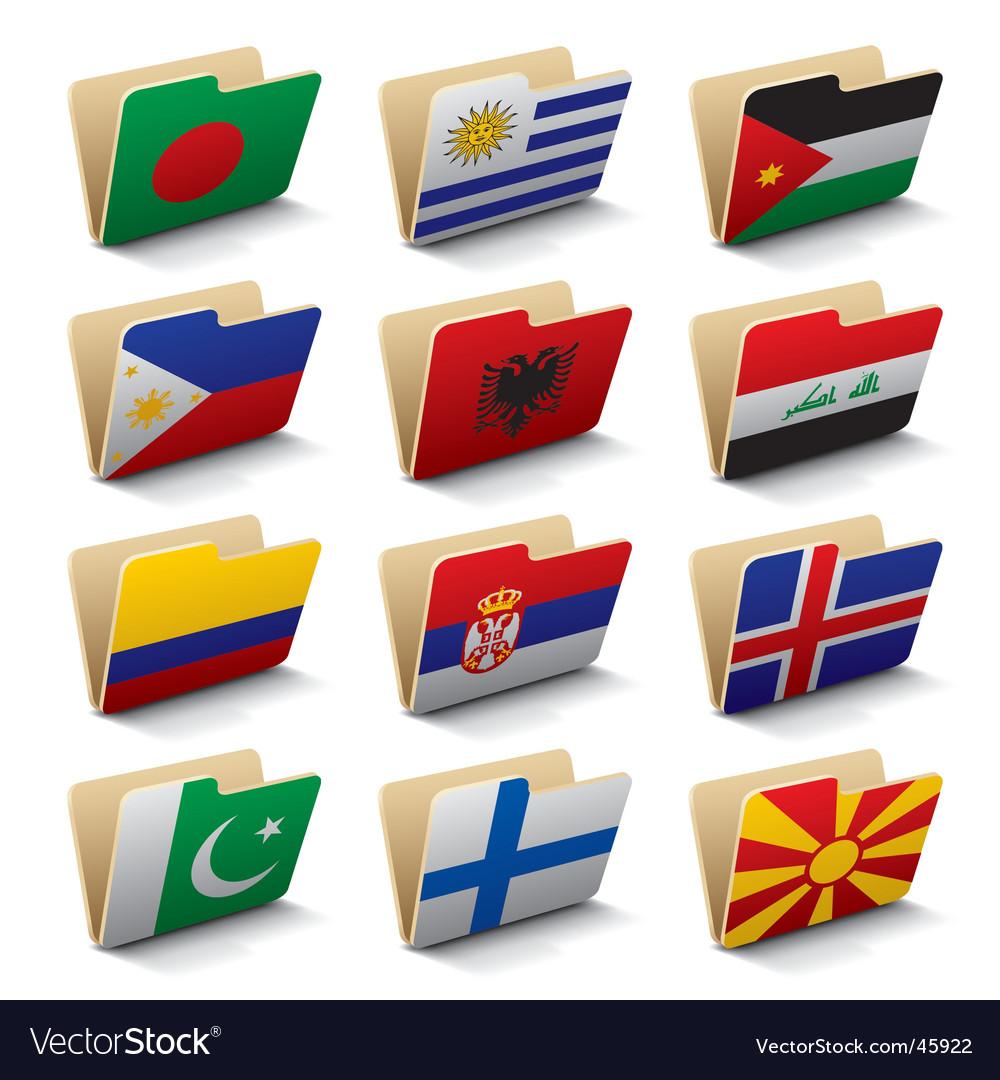 World folders icons vector