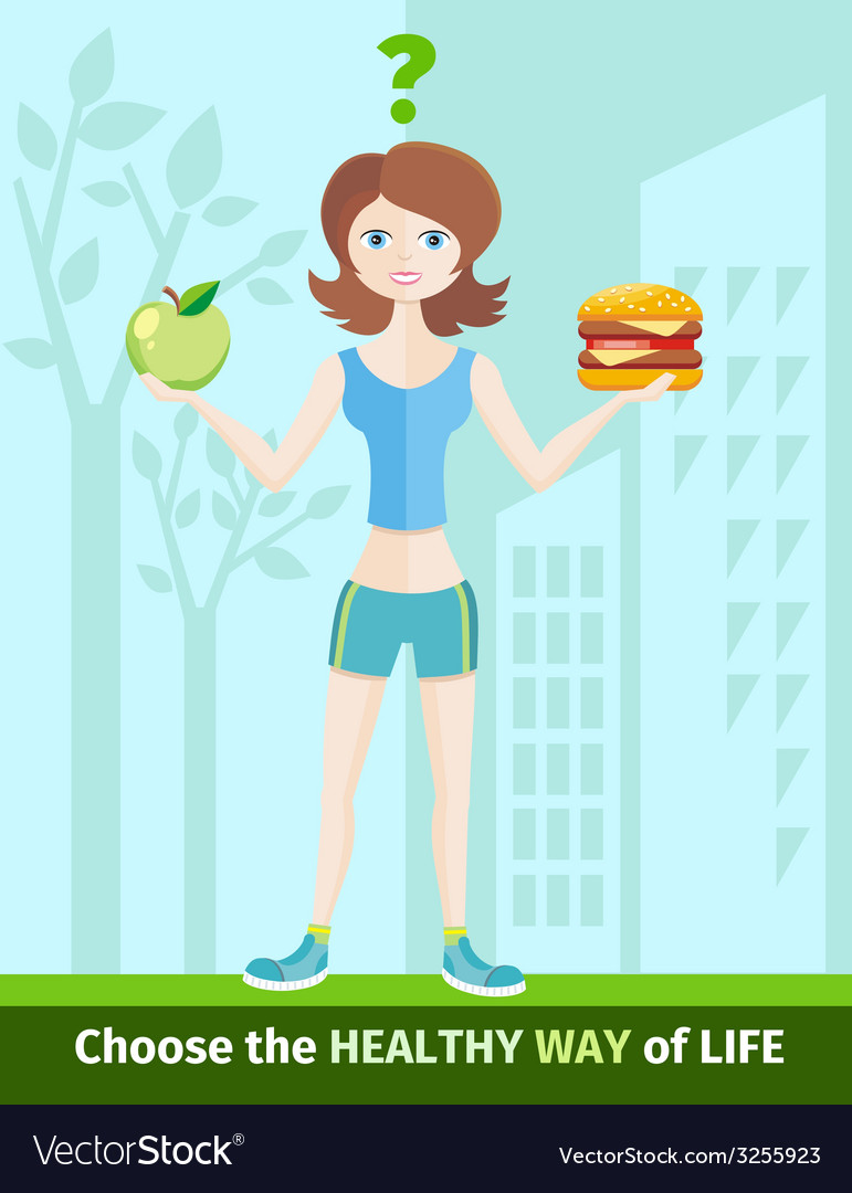 Woman choosing between eat apple or hamburger vector