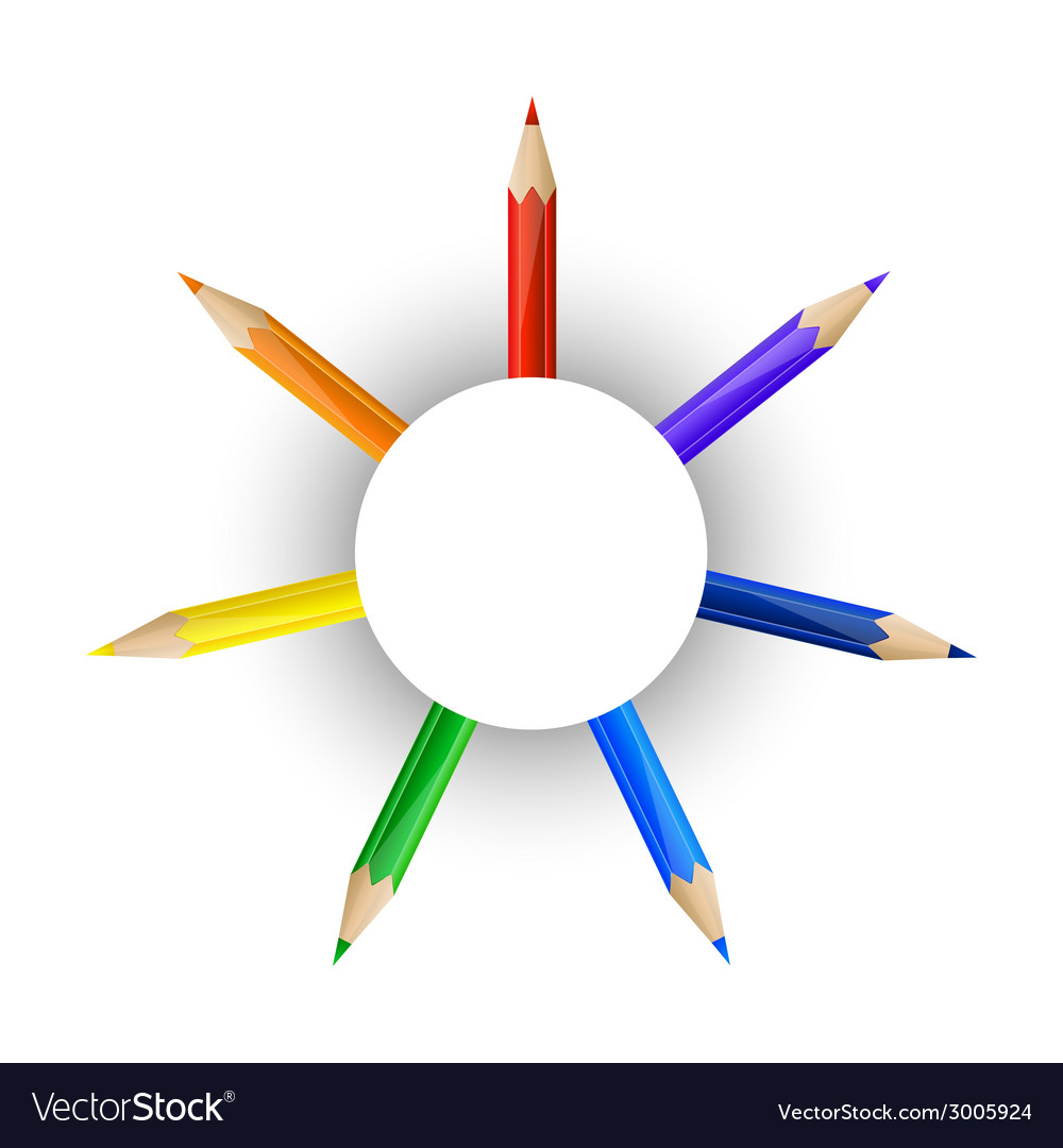 Set of pencils and round paper banner vector
