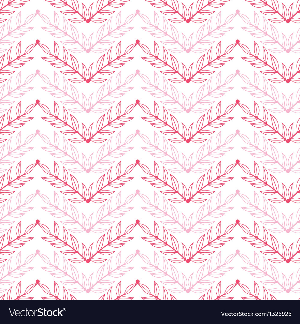Pink lineart leaves chevron seamless pattern vector