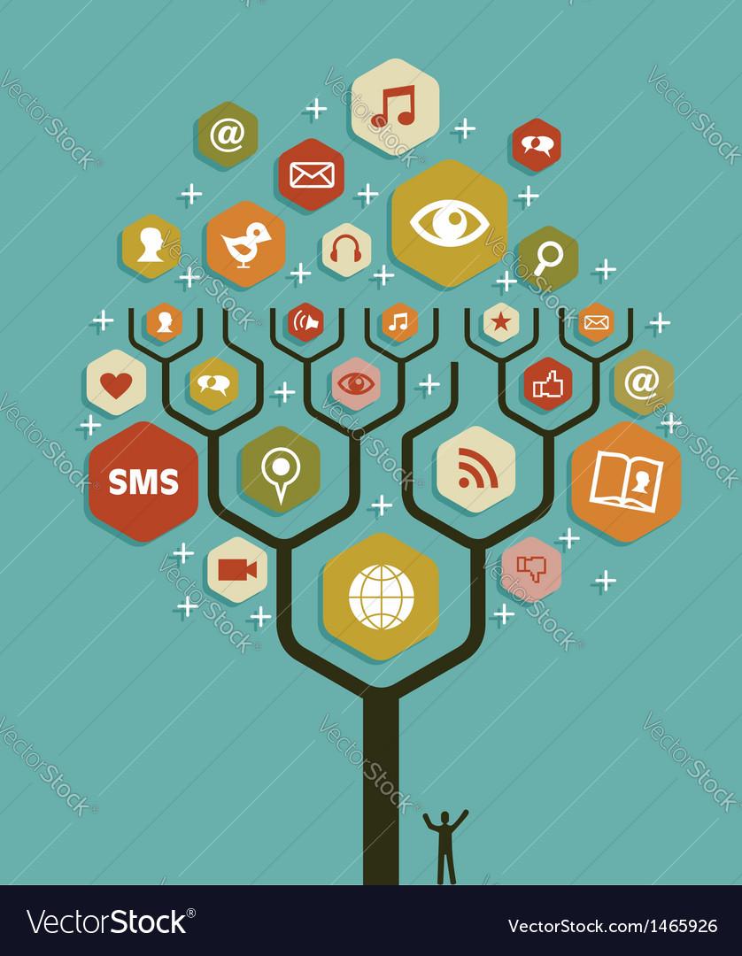 Web marketing business tree plan vector