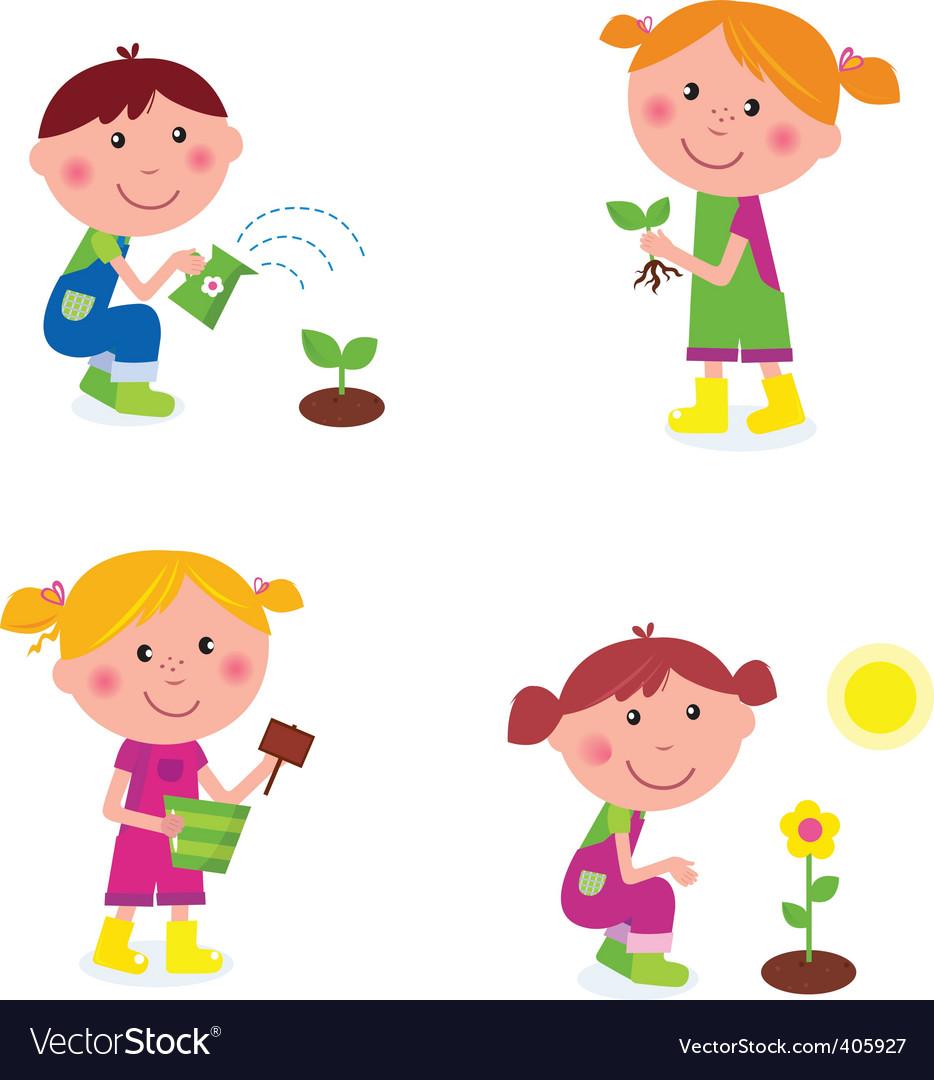Gardening children collection vector