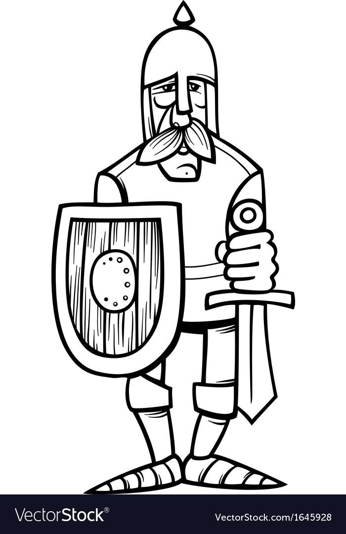 Knight in armor cartoon coloring page vector