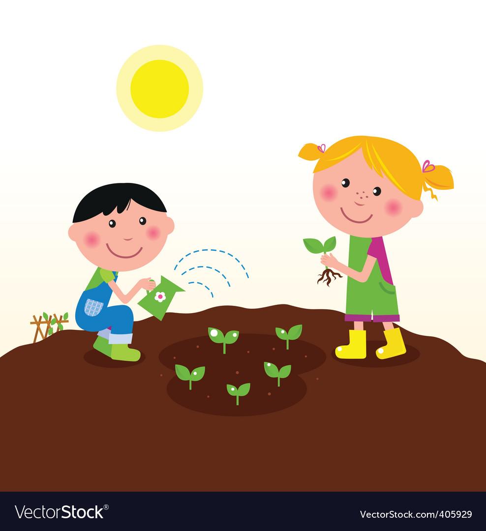 Kids watering  planting plant vector