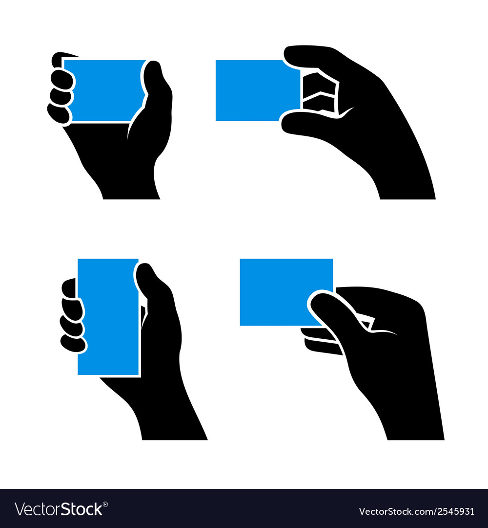 Set of hands holding different business cards vector