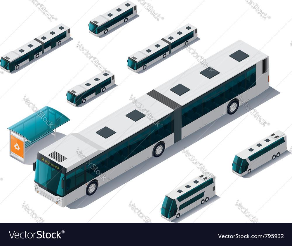 Isometric bus set vector