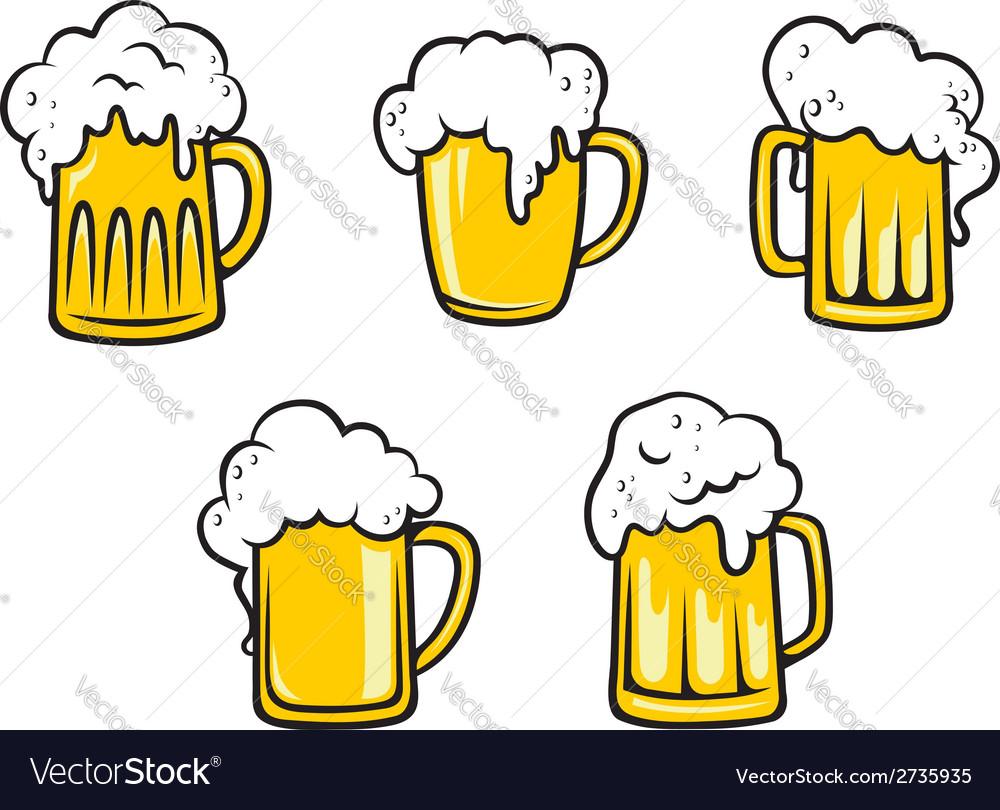 Glass beer tankards vector