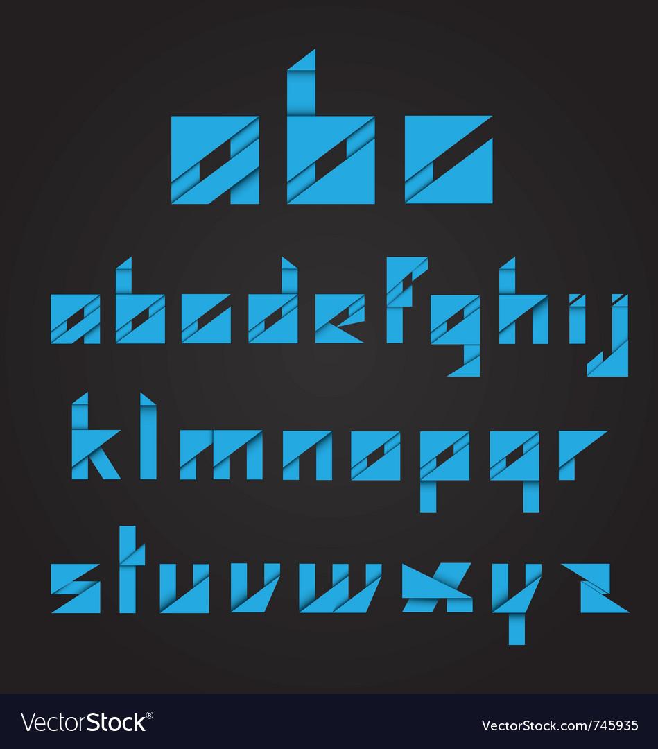Origami alphabet on black background vector