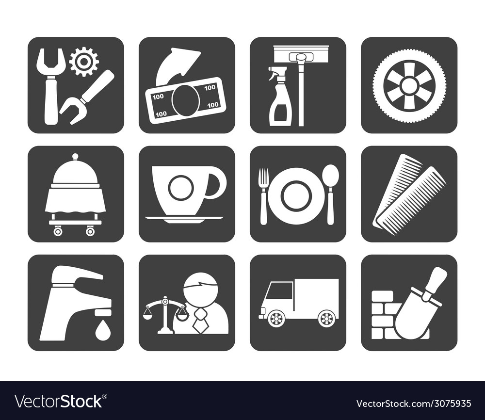 Silhouette services and business icons vector