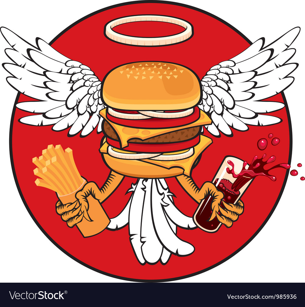 Cheeseburger with wings vector