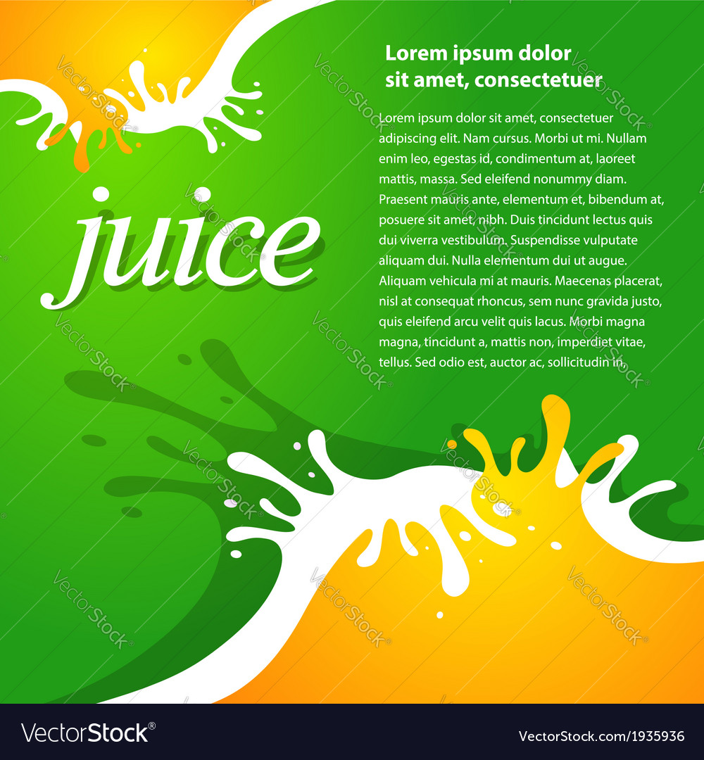 Juice fruit drops liquid orange green brochure vector