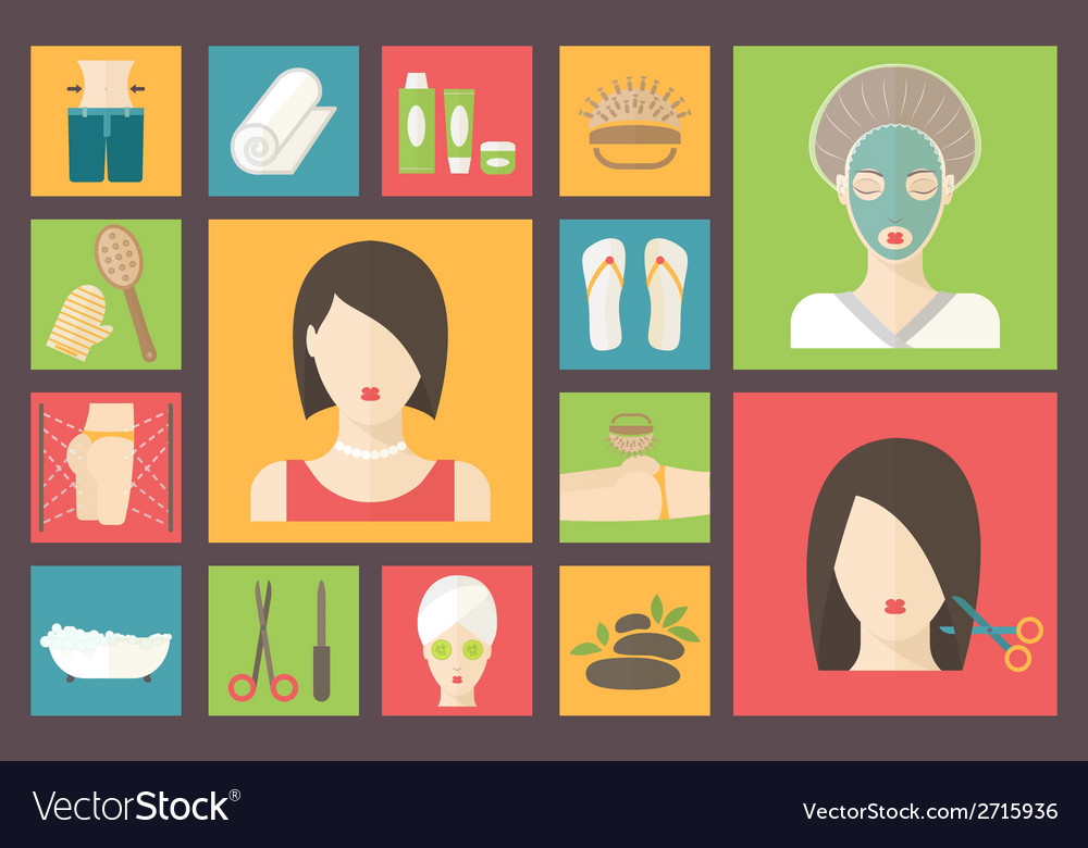 Woman in beauty spa salon facial body and hair vector