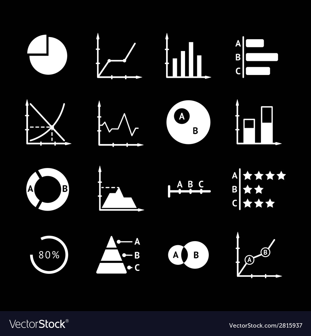 Set icons of diagrams and charts vector