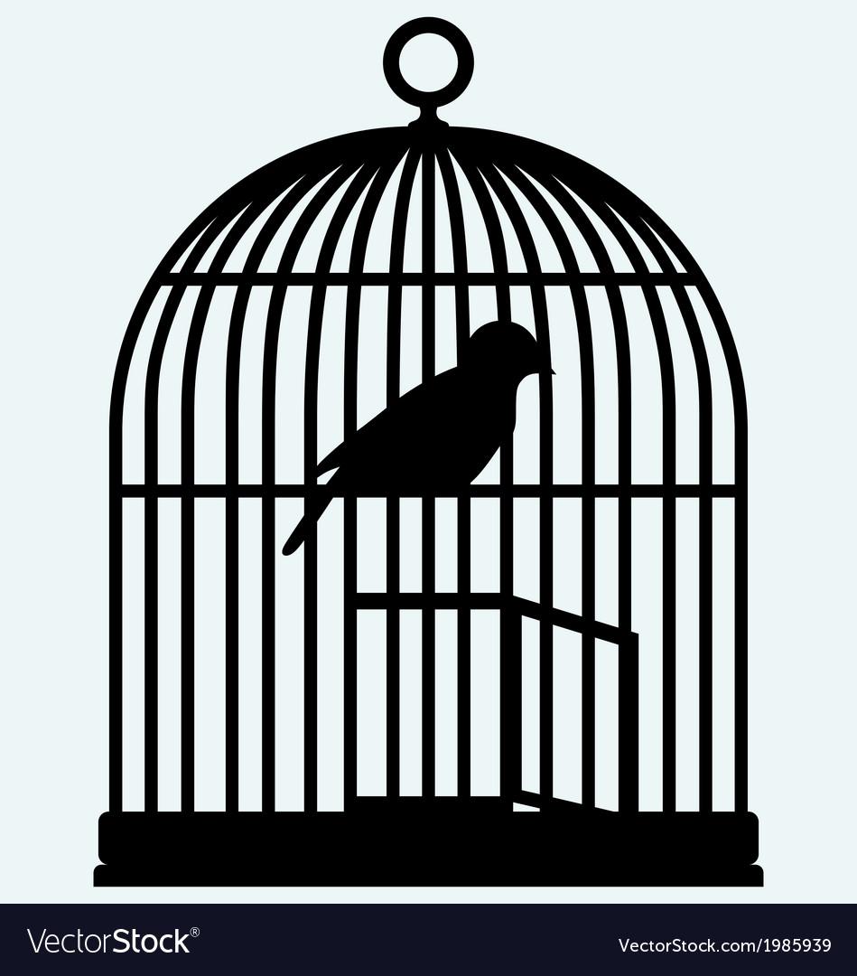 An open birdcage and bird vector