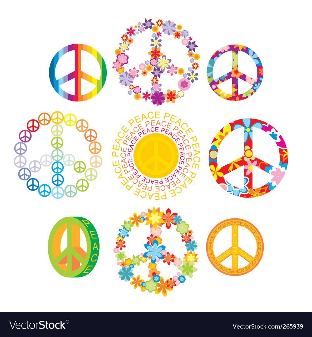 Set of peace symbols vector