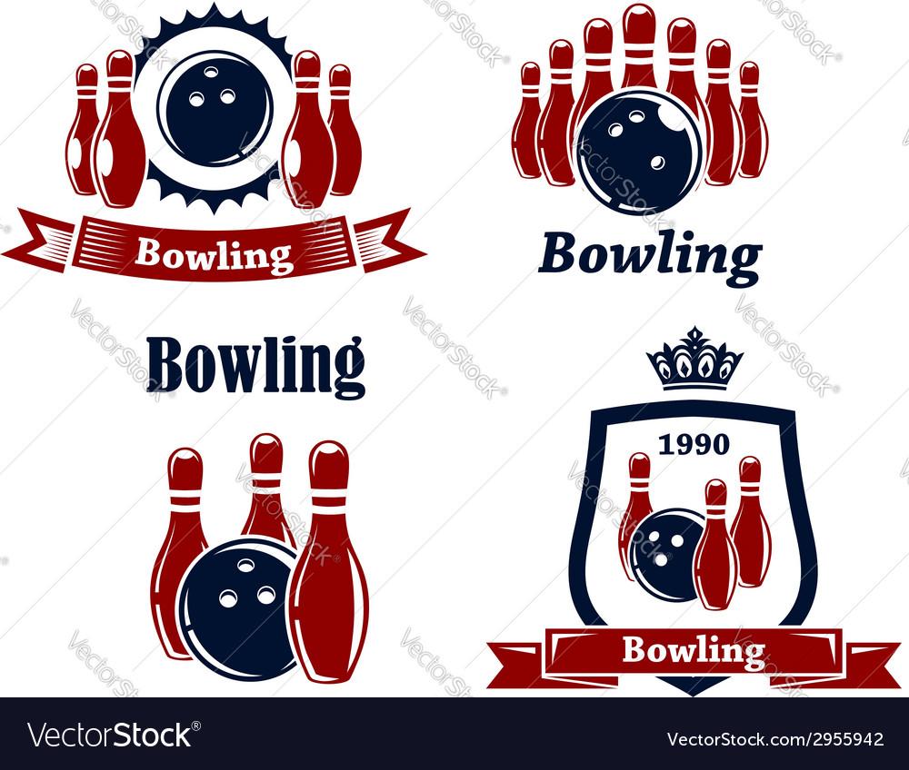 Sporting bowling emblems and symbols vector