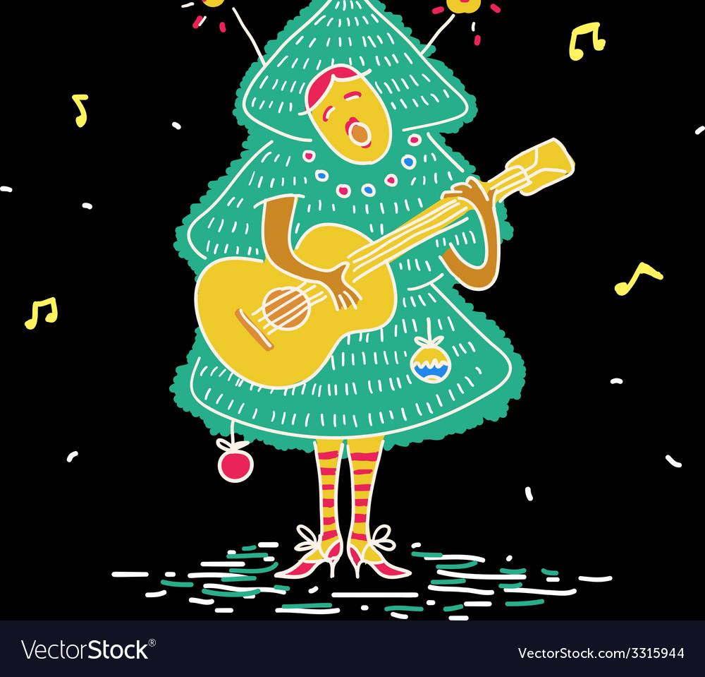 Christmas tree costume vector