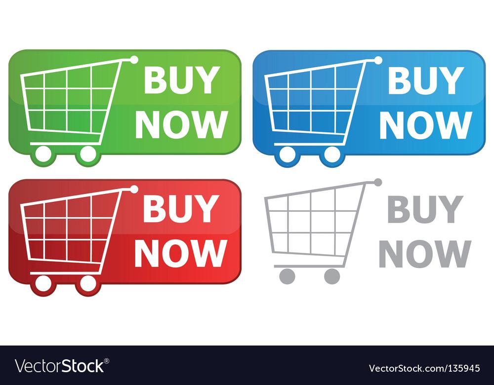 Button grocery cart vector